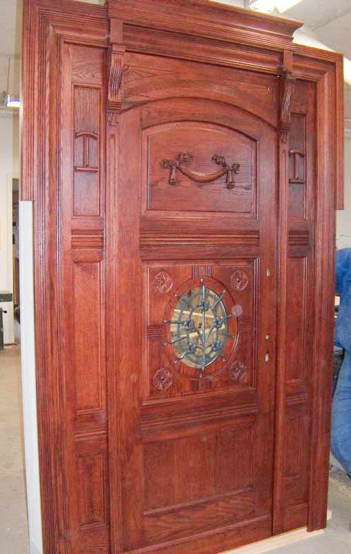 drzwi wejściowe dębowe z płaskorzeźbami